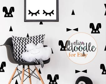 Bunny rabbit & triangle children's monochrome bedroom decor pack/ nursery wall stickers / wall decals / removable stickers / wallpaper