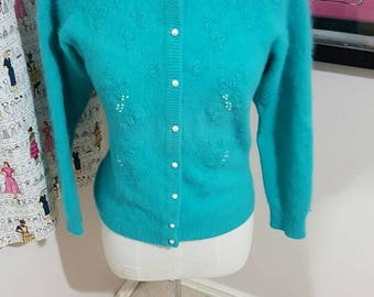 Vintage Teal and Pearlized Sweater Size L