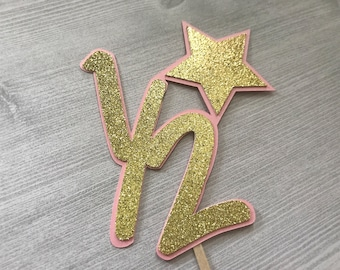 Half Birthday Cake Topper, Pink and Gold Cale Topper, Half Birthday