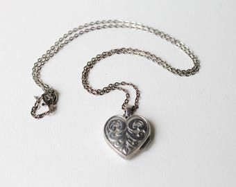 Vintage 925 silver engraved heart locket pendant necklace. I love you double sided silver engraved  locket. Heart pendant silver locket.