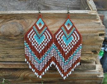 Beaded earrings, seed bead earrings, modern earrings, boho earrings, fringe earrings, beadwork jewelry, Christmas gift beaded