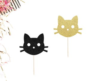 Cat Cupcake Toppers (Set of 12)   Kitty Cat Cupcake Toppers   Cat Birthday Party Decor   Kitten Cupcake Toppers   Smash Cake Topper   Gold