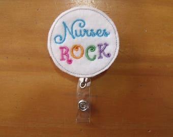 Nurses Rock Retractable Reel ID Badge Lanyard Clip Nursing Scrubs - Blue, Pink, Orange, Green and Purple Design - would match all scrubs!
