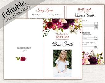 Baptism Program, Editable PDF, Printable Digital Handout Girl Baptism, wine flowers boho, Baptism Program Folded, Baptism Program Template