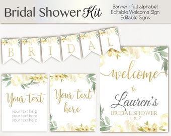 Bridal Shower Package, Welcome Sign Bridal Shower white ivory Template, Editable PDF, white ivory gold, Editable Sign, Bridal shower banner
