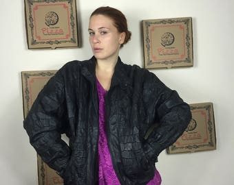Real leather bomber jacket , vintage leather jacket , vintage bolber jacket