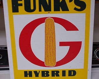Funk's G Hybrids corn field marker sign.