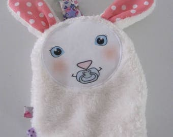 Pacifier clip, custom flat plush rabbit