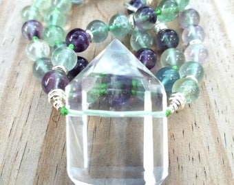 Fluorite necklace quartz point necklace, crystal quartz necklace, Hand knotted necklace, Boho Necklace healing stones meditation necklace