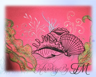 Sea World embroidery with 3D seaweed / two sizes/