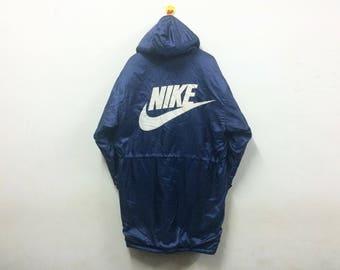 Rare!!! Vintage Nike Swoosh Jacket Parka Big Logo Winter Hip Hop