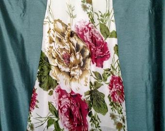 Size M Flower Dress/A Line  Short Dress/Vintage Sleeveless Dress/Rolled Collar Dress /Swings Sun Dress/ No.309