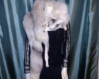 Real Fox Collar/Blue Fox Fur Stole/Real Full Fox Shawl/Vintage Fur Cape Shawl/No317