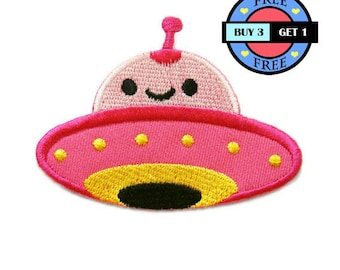 Cute Pink UFO Embroidered Iron On Patch Heat Seal Applique Sew On Patches