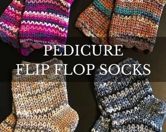 Flip Flop Socks, Pedicure Socks, Toe-less  Socks, Yoga Socks, Gift For Her, Crochet Pedicure Socks, Wool-Free Socks
