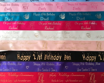 Personalised ribbon for all occasions, Customised Ribbon, Wedding, Birthday, Anniversary, Funeral, Themed, Engagement, Christmas 45mm wide