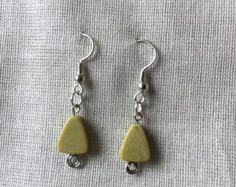 Yellow turquoise dangle earrings, fresh look for every day jewelry