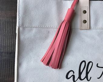 CORAL Leather tassel- bag accessories- key chain- luggage tag- bag bling