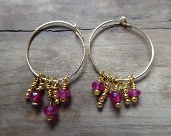 Raw Ruby Earrings Gold Hoops With Faceted Rubies/Karen Hill Tribe Gold Beads/July Birthstone/ Gift For Her