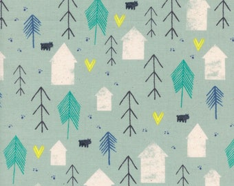 Cotton and Steel Neighbors Cotton Quilting Fabric  Mint