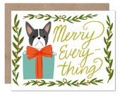 Frenchie Holiday Card   Merry Everything   Dog Lover Christmas Card   Dog Holiday Card   Frenchie Lover