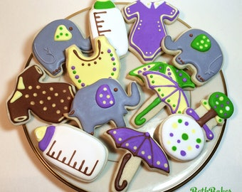 Baby Shower Custom Decorated Cookies One Dozen