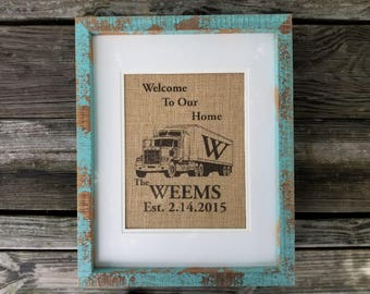 Welcome To Our Home, burlap trucker print