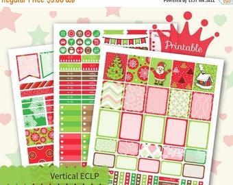 50% OFF SALE Christmas Printable Planner Stickers for Vertical Erin Condren Lifeplanner™ Weekly Stickers Kit Santa Claus  December Decorativ