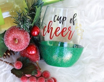 Cup of Cheer Glitter Wine Glass / Christmas Wine Glass / Holiday Wine Glass / Glitter Wine Glass / Holiday Cheer / Christmas Cheer