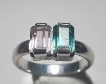 double tourmaline ring , tourmaline ring with 925 sterling silver , bi color tourmaline ring pink and blue , tourmaline jewelry