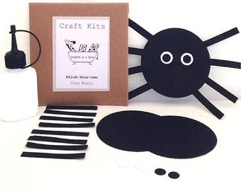 Halloween Kid's Craft, Spider Paper Puzzle, Party Bag, Incy Wincy Preschool Activity, Nursery Rhyme Book Bag, Screen Free Kit, Die Cut