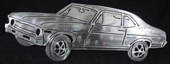 """1968 2 Door Nova 16"""", Metal Nova Wall Art, Metal Nova, Metal Art, Metal Decor, 1968 Memorabilia, Home Decor, Office Decor, Automotive Art"""