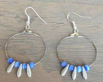 Blue and silver hoop earrings