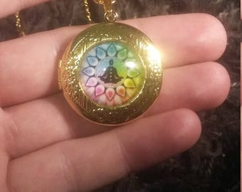 Chakra meditation gold necklace