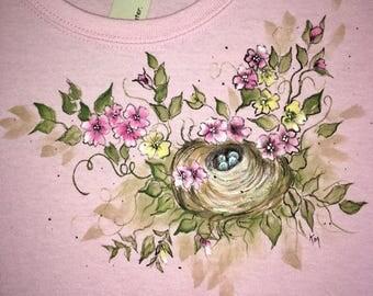 Bird Nest in Flowers on T-Shirt