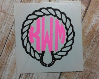 Horse Decal/Horse Monogram/ Monogram/Decal/ Vinyl Decal/ Cowboy Decal/ Cowgirl Decal/Yeti Cup Decal/Horseshoe Decal