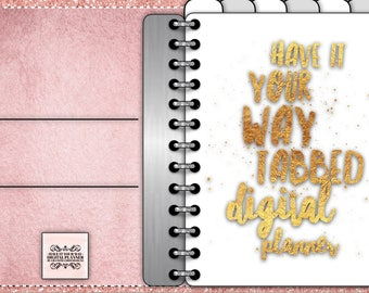 Digital Planner for GoodNotes, Have It Your Way, Blank Tabs, Rose Gold Leather