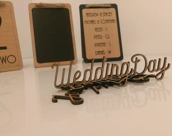 Laser cut names for wedding guest table place cards. Weddings, events, parties and birthdays. Craft accessories un/painted