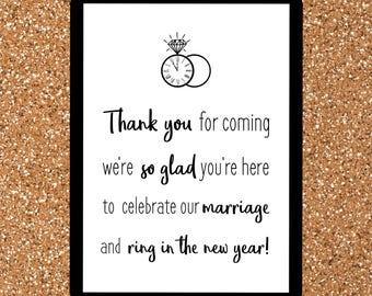 New Years Eve Wedding Thank You Sign | NYE Wedding Sign