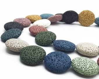 1Full Strand 20mm Large Hole Coin Lava Beads,Flat Lava Beads,Natural Multicolor Lava Stone