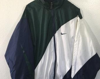 Vintage 90s Nike Air BIG Swoosh windbreaker bomber Jacket size XL Navy Green White