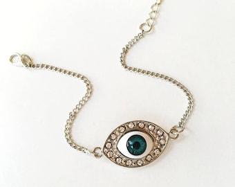 PROMO FREE SHIPPING Evil Eye Bracelet, Sterling Silver Bracelet, Celebrity style bracelet, Evil Eye Bead Bracelet, Evil eye Silver Bracelet