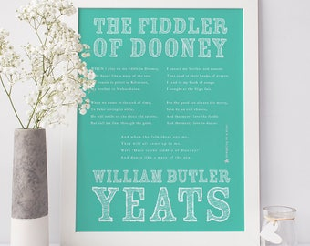 WB Yeats Art Print, The Fiddler of Dooney, Yeats Print, Irish Poetry, Irish Art, Poetry Art, Irish Print, Wall Art, Wall Decor, Type Poster