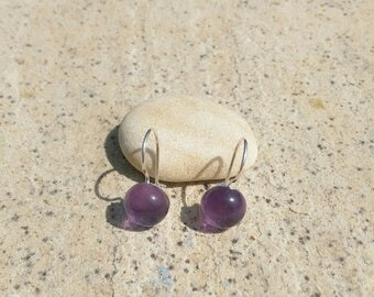 Nasturtium 965/semi precious/amethyst stone Silver earrings