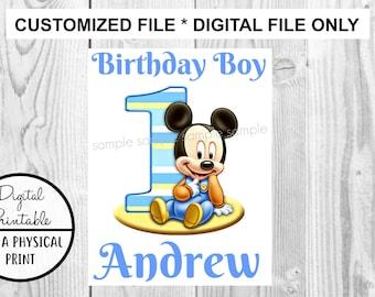 Baby Mickey Mouse Iron On Transfer - DIY Birthday Disney Disneyland Disney World - Birthday Boy Personalized Customized