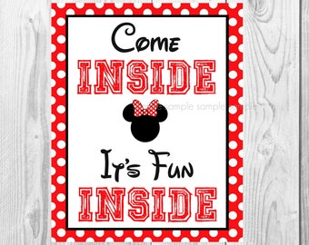 "Come Inside It's Fun Inside Sign, Minnie Mouse Birthday Party Sign, 8""x10"" Printable, Instant Download"