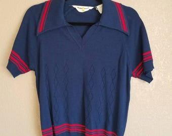 vintage 1970s 70s Navy Blue knit sweater shirt butterfly collar Men's XS V neck Disco polo