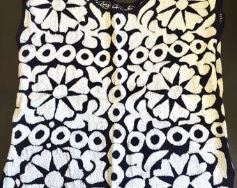 Handmade Mexican Embroidery Huipil Front and Back -Dark Blue Color- White Flowers Size Medium