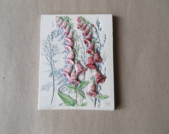 Vintage Jie Sweden Floral Ceramic Pottery Wall Plaque. Designed by Aimo Nietosvuori. Number 856. Foxglove, Digitalis. Scandinavian Design.
