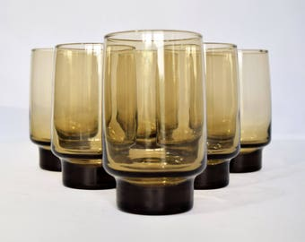 Vintage Set of 6 Smoked-Glass Libbey Tumblers/Dinner Glasses